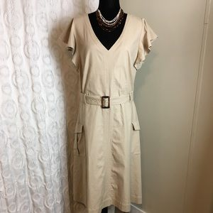 New York & Company Stretch khaki dress L